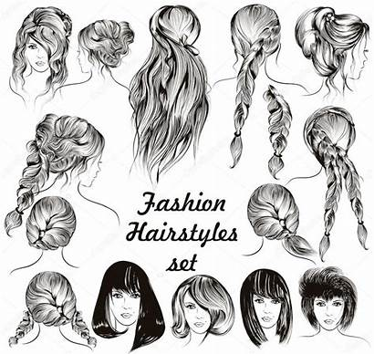 Hairstyles Female Illustration Different Vector Engraved Premium