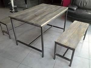 Table De Salle A Manger Industriel : meuble industriel table de salle a manger 2 banc banc acier pinterest structure en acier ~ Teatrodelosmanantiales.com Idées de Décoration