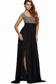 Black Backless Lace Decor Slit Maxi Dress