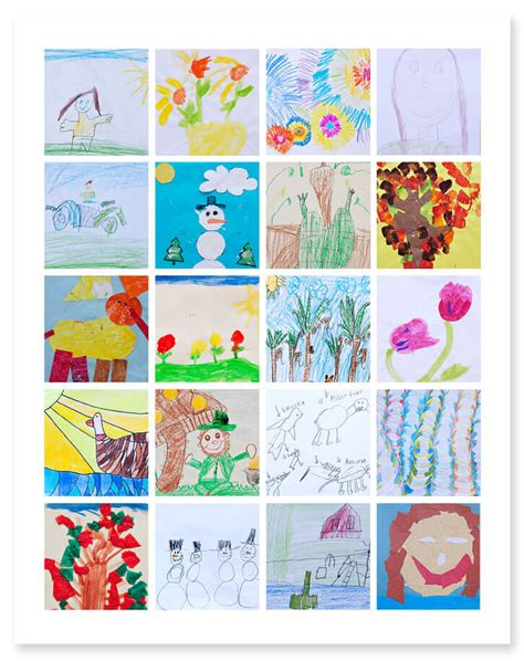 5 clever ways to display your child s artwork 629 | Child Artwork Template Collage