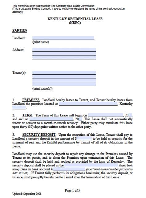 kentucky standard residential lease agreement
