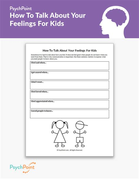 how to talk about your feelings for kids worksheet