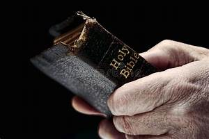 Aged Man Hands Holding Old Antique Holy Bible Book Stock ...