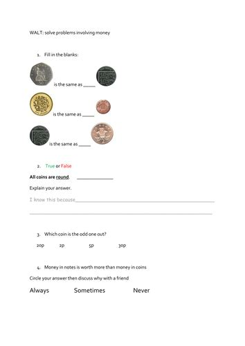 year  money worksheets maths mastery questions