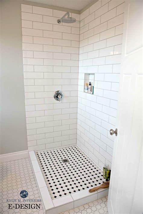 small bathroom shower subway tile hexagon  benjamin