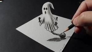 Drawing a 3D Ghost, Trick Art –Costin Craioveanu