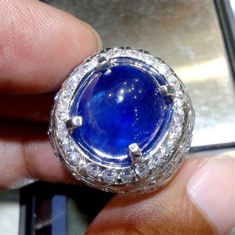 Batu Cincin Blue Safir Menawan jual cincin pria blue safir afrika pilihan 0121 cincin dan