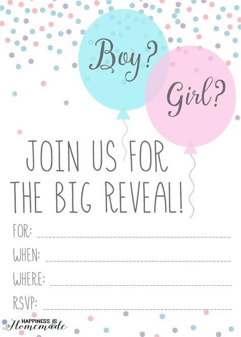 baby gender reveal party ideas  printable invitati