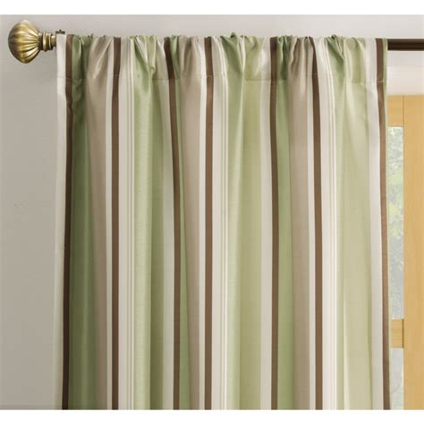 Green Striped Curtain Panels by Shop Allen Roth Alison 84 In L Striped Green Rod Pocket