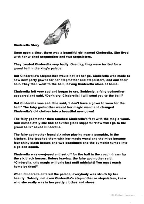 cinderella story worksheet  esl printable worksheets