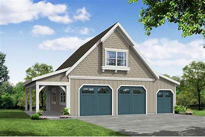 Garage Plan Plans Workshop Craftsman Elevation Attic