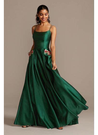 satin double strap gown  floral pockets davids bridal