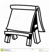 Easel Board Paper Sketch Wooden Illustration Vector Drawing Hand Drawn Line Coloring Simple Blank Canvas Empty Comp Diagram Note Whiteboard sketch template