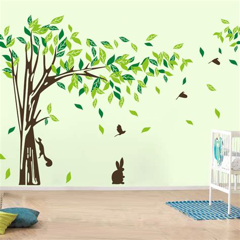 large wall decal tree removable green wall decor living
