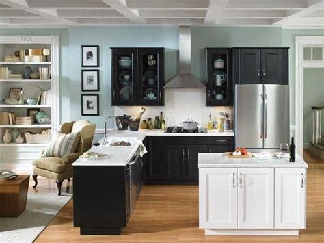 black white grey kitchen with light blue walls