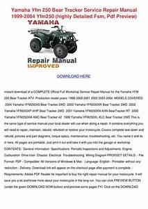 Yamaha Yfm 250 Bear Tracker Service Repair Ma By Dulciecouncil