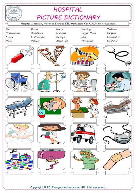 hospital esl printable english vocabulary worksheets
