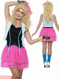 Ladies 80s Costume 1980s Neon Roller Disco Pop Star Fancy ...