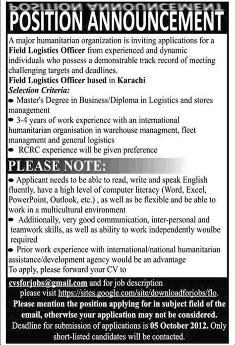 ngo requires field logistics officer ngo job