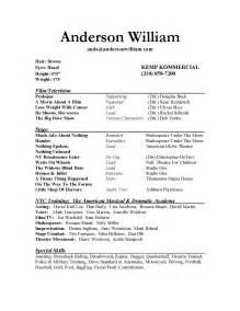 acting resume exles for beginners acting resume sle best template collection