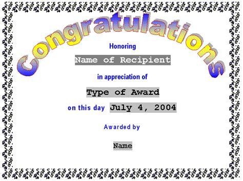 congratulations template congratulations certificate template