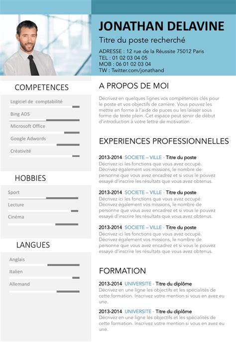 Exemple De Cv En Ligne exemple de cv en ligne gratuit 224 t 233 l 233 charger