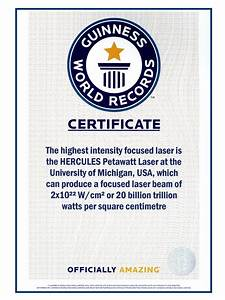 center for ultrafast optical science With guinness world record certificate template