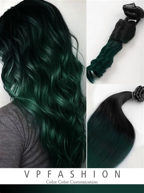 Off Black To Dark Green Mermaid Colorful Ombre Indian Remy