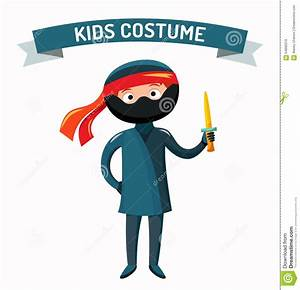 Ninja Kid Costume Isolated Vector Illustration Stock ...