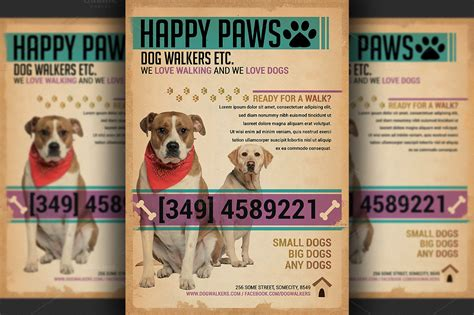 dog walkers flyer template flyer templates  creative