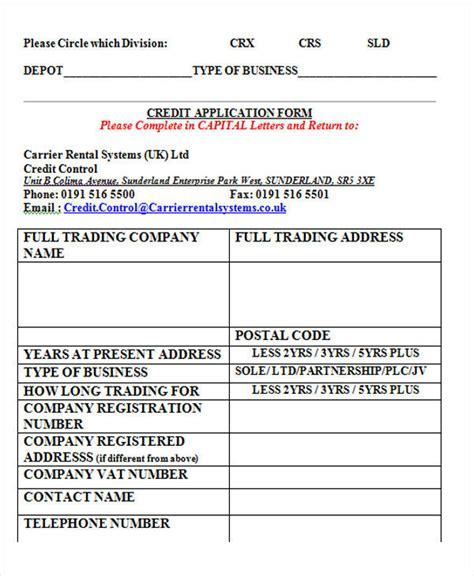 Sample Credit Application Forms Topl Tk