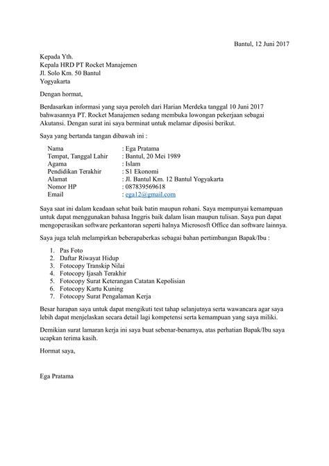 contoh surat permohonan kerja terbaru  sesuai