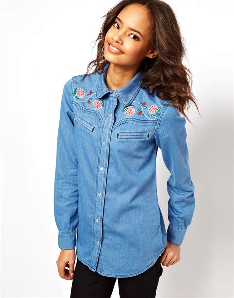 Asos Washed Denim Shirt with Floral Embroidery in Blue | Lyst