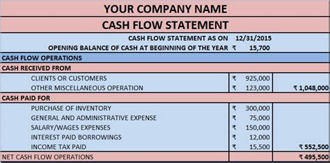 cash flow statement excel template exceldatapro