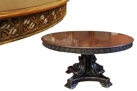 gold round dining table 60 inch round walnut pedestal dining table w black and gold