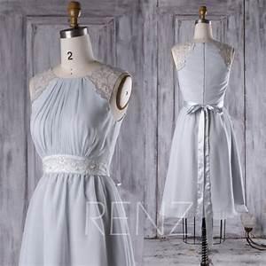 2017 light gray chiffon bridesmaid dress a line wedding With light gray wedding dress
