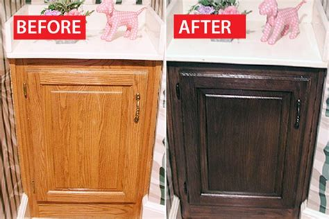 updating oak kitchen cabinets before and after before after a honey oak cabinet refinished ehow