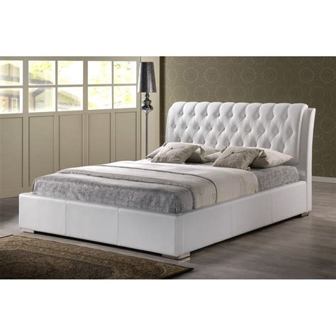 Bianca White Modern Bed With Tufted Headboard King Size