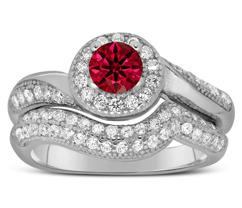 designer 2 carat ruby and diamond bridal ring for in white gold jeenjewels
