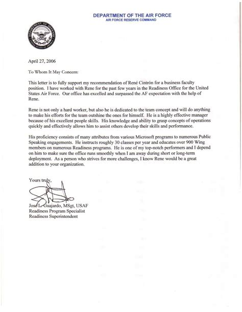 letter  recommendation template air force