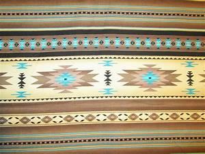 Navajo Indian Tan Brown Cream Teal Border Print Cotton ...