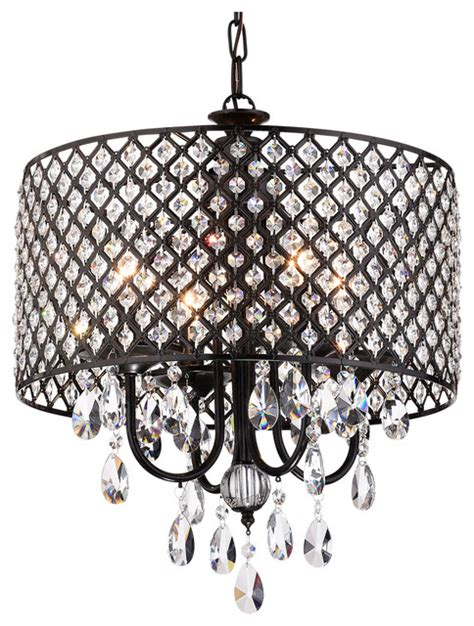 Black Drum Shade Chandelier With Crystals by Margaret 4 Light Chandelier With Drum Shade Antique Black