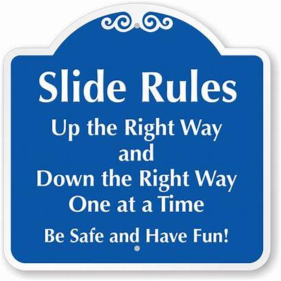 Slide Rules Sign Right Way Playground Down