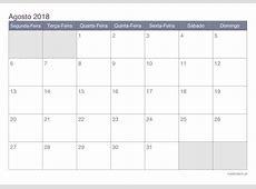 Calendário agosto 2018 para imprimir iCalendáriopt