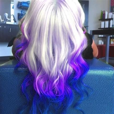 Purple Violet And Platinum Blonde Ombre Hairstyle Hair