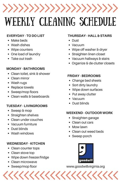 cleaning schedule  simple clear clutter  good