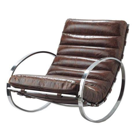 leather rocking chair  brown freud maisons du monde