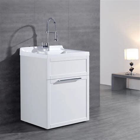 utility sink with storage daisy white vanity style utility sink with faucet by ove
