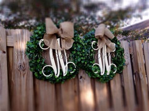 Two Monogram Initial Boxwood Wreaths With Burlap Bow