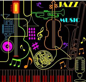Jazz musical instrument background colorful neon